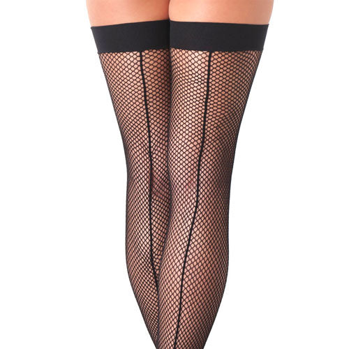 Black Fishnet Stockings With Seam
