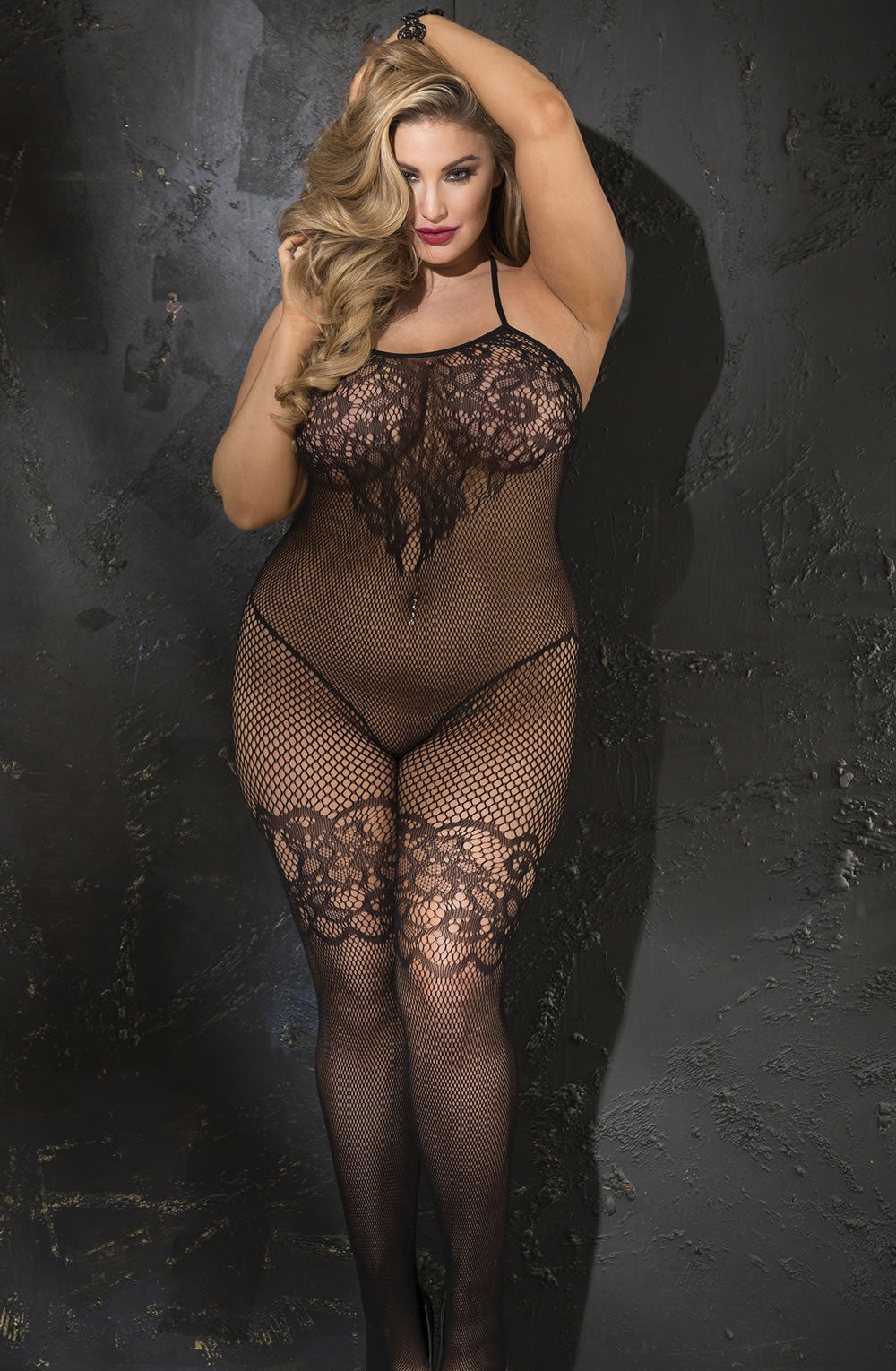 Plus size lace and fishnet bodystocking