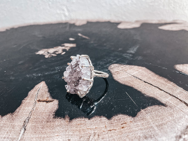 One Of A Kind Raw Amethyst Shield Ring