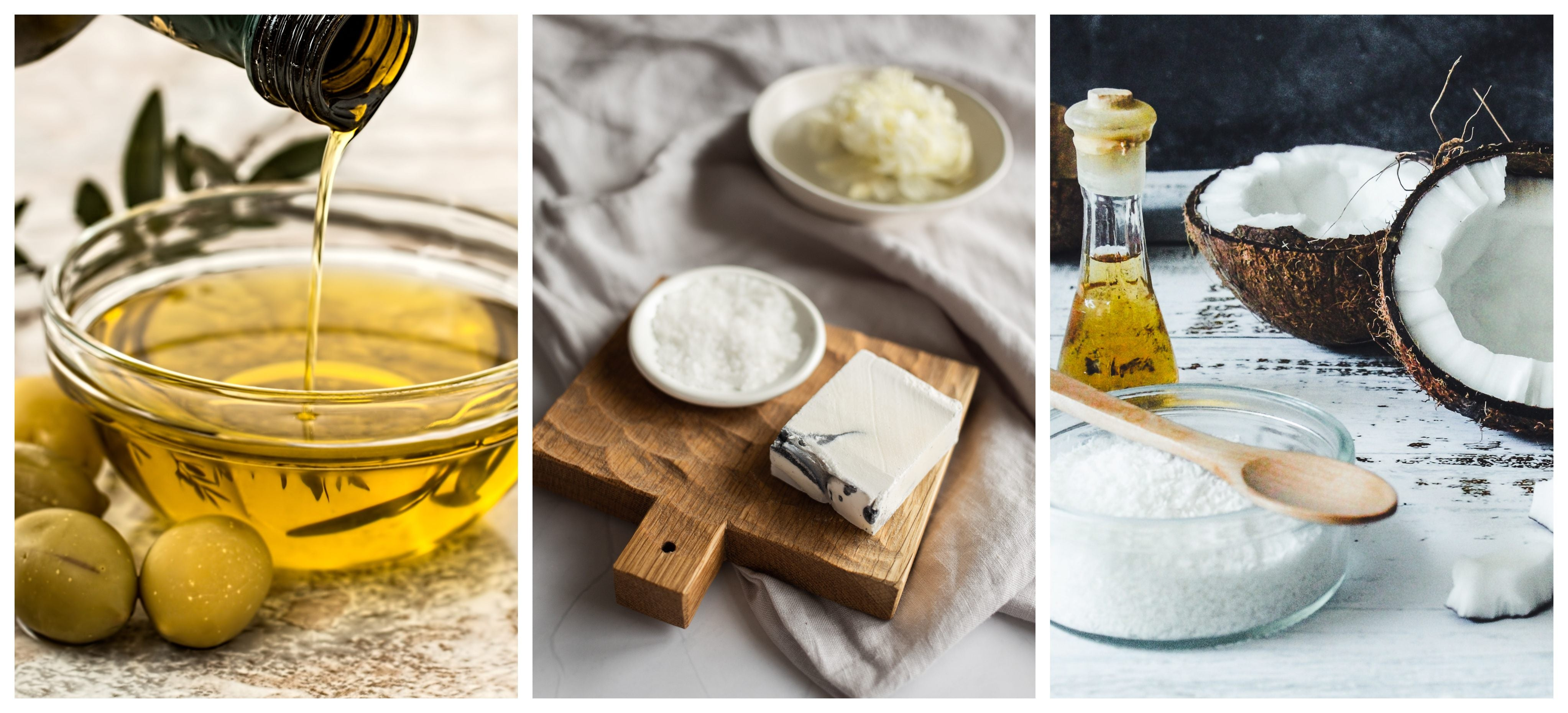 image collage of cocoa butter, coconut oil and olive oil