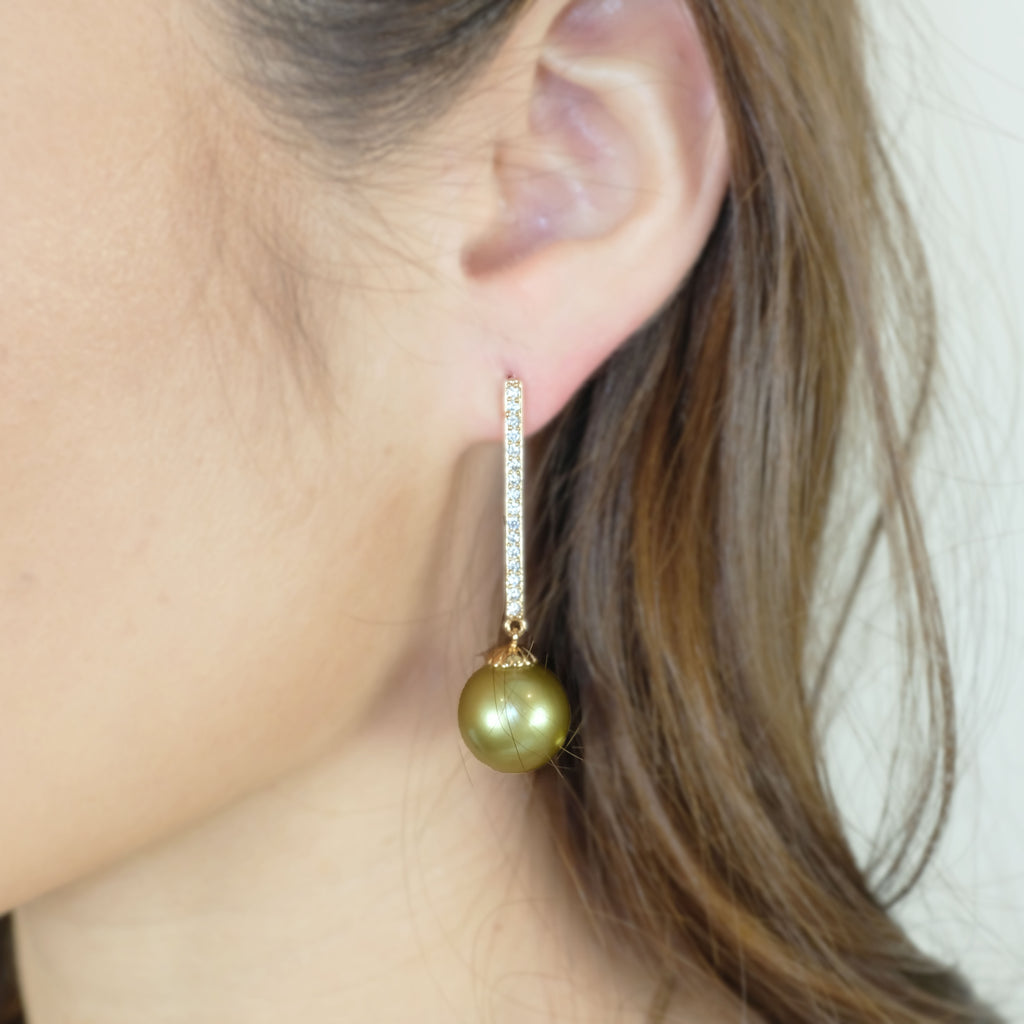 Gaia's Pistachio Colour Tahitian  Pearl Earrings - Aniya Jewellery