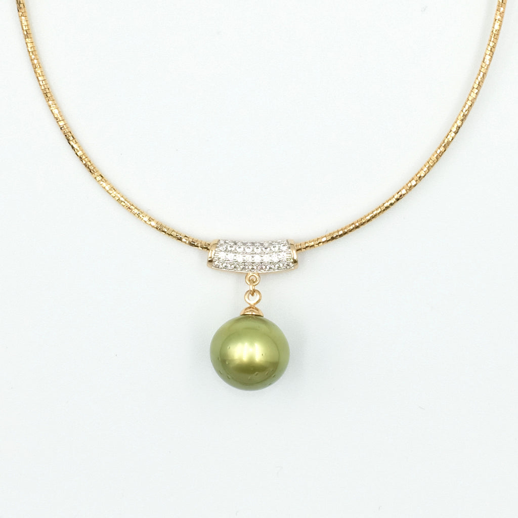 Gaia's Pistachio Colour Tahitian Pearl Necklace - Aniya Jewellery