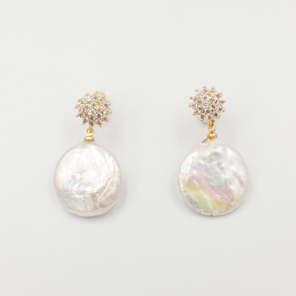 Coin Pearl with flower stud Earrings - Aniya Jewellery
