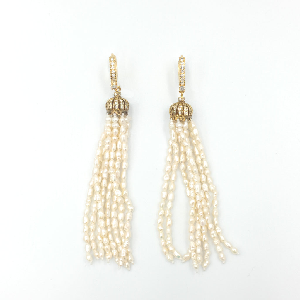 Camila Tassel Pearl Earrings - Aniya Jewellery