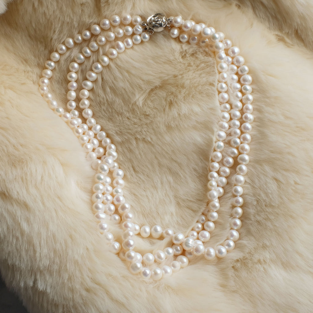 Adrianne Three Layered Pearl Necklace