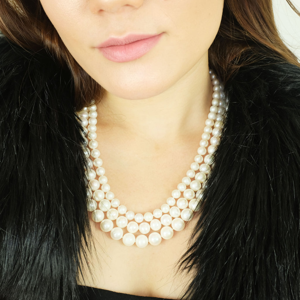 Audrey Three layered Pearl Necklace - Aniya Jewellery