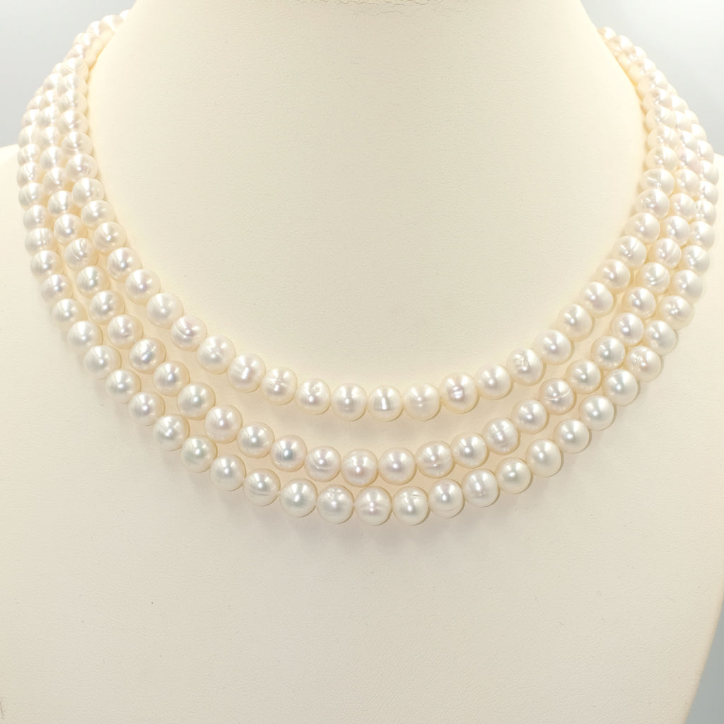 Adrianne Three Layered Pearl Necklace - Aniya Jewellery