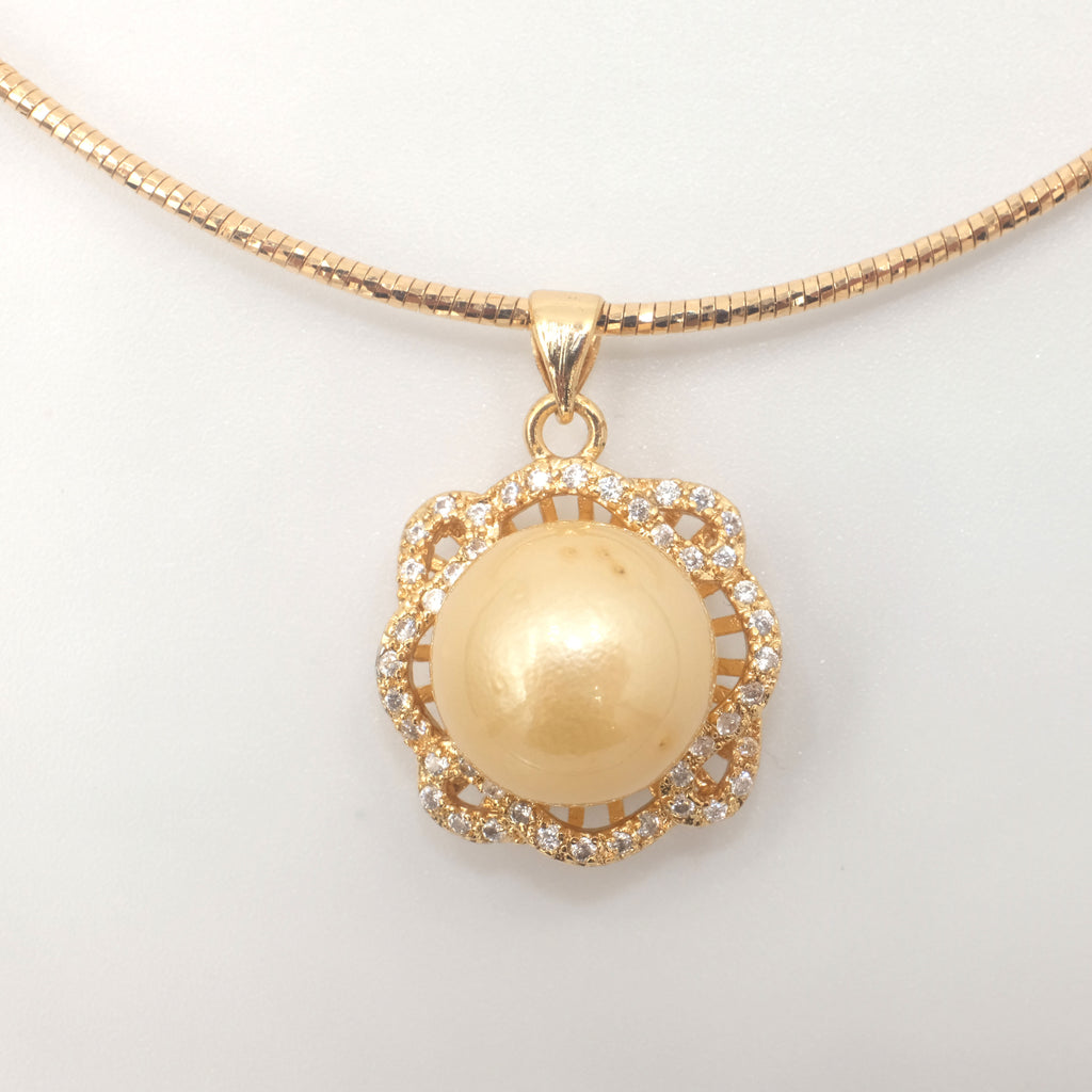 Reine Des Fleurs Golden South Sea Pearl Necklace - Aniya Jewellery