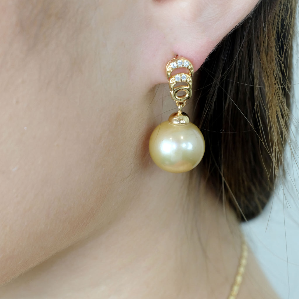 Cecile Gold Freshwater Pearl Earrings - Aniya Jewellery