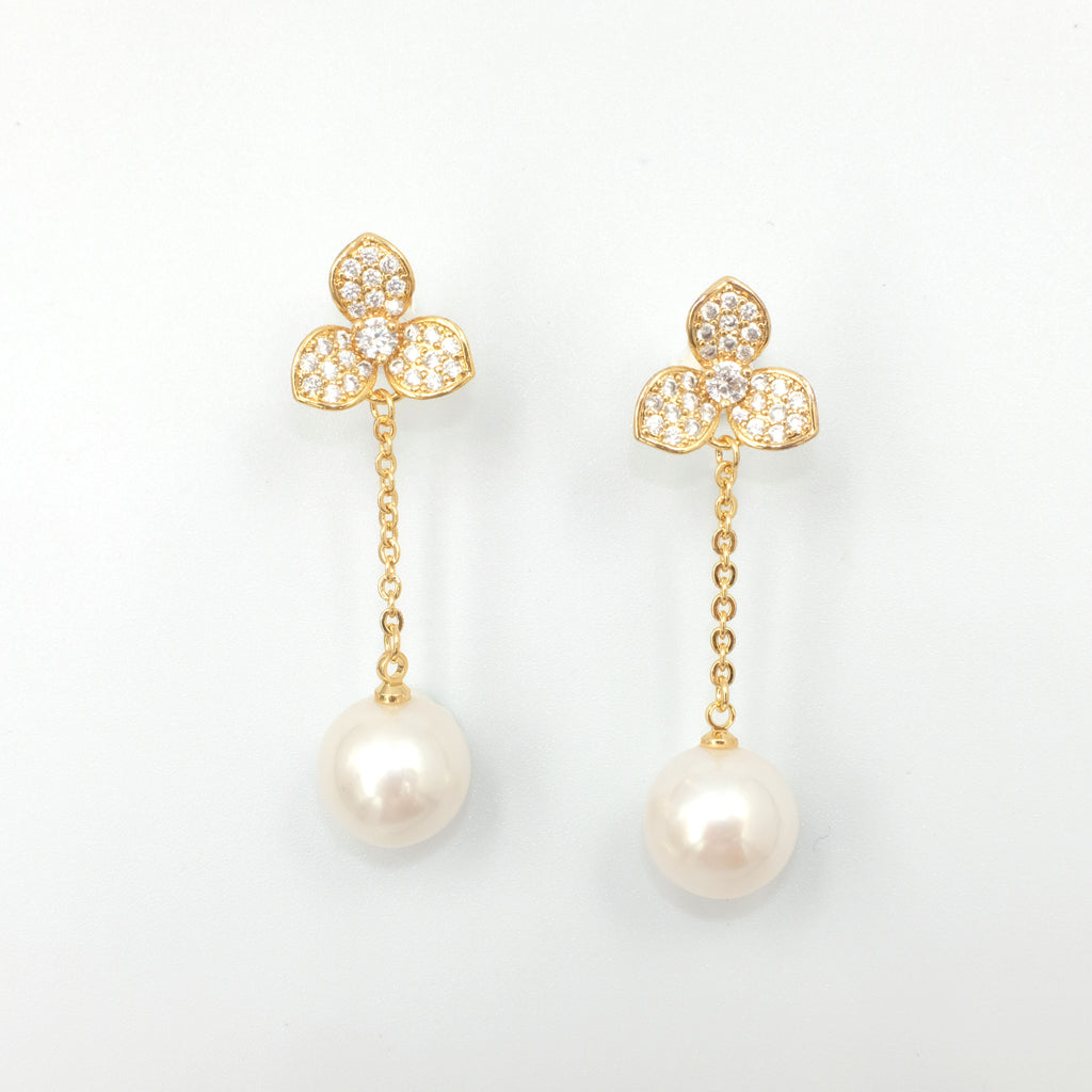 Iva Fleur Dangling Pearl Earrings - Aniya Jewellery