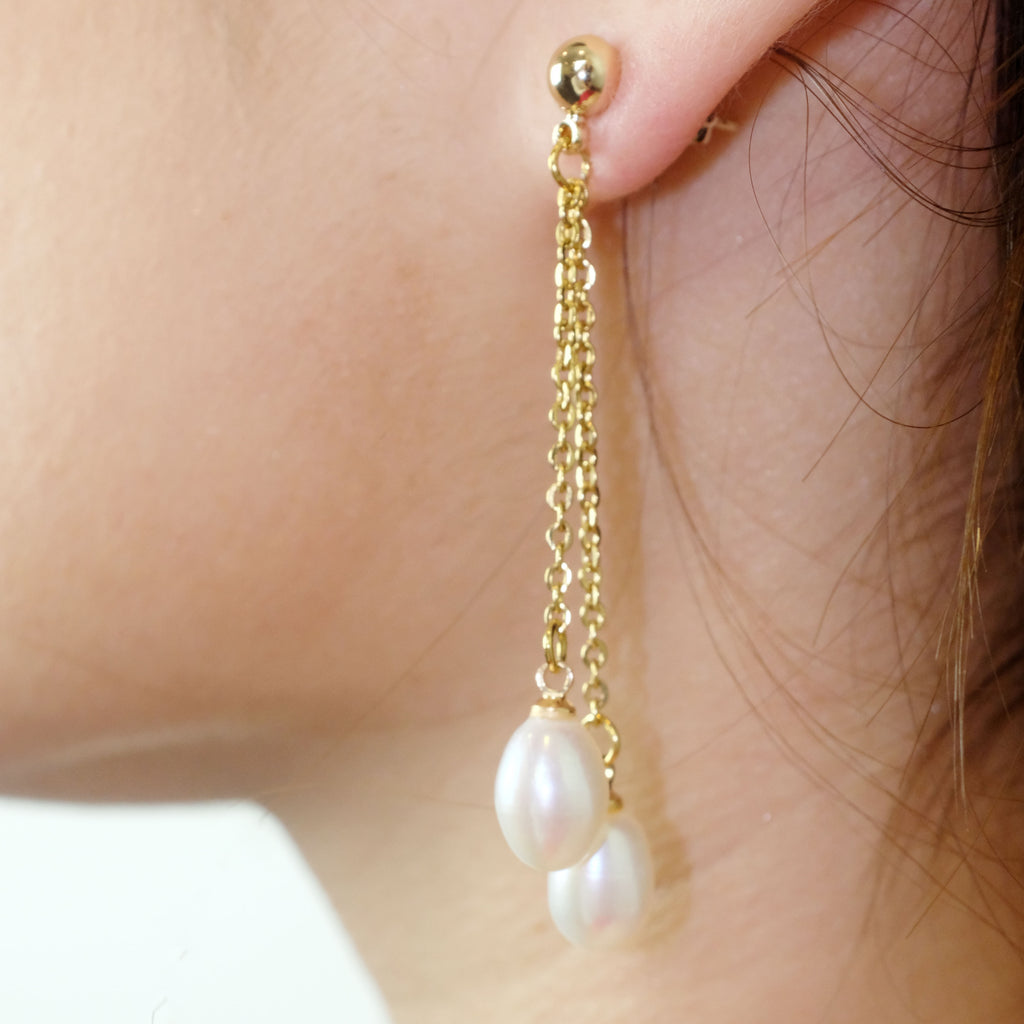 Amara Drop Pearl Earrings - Aniya Jewellery