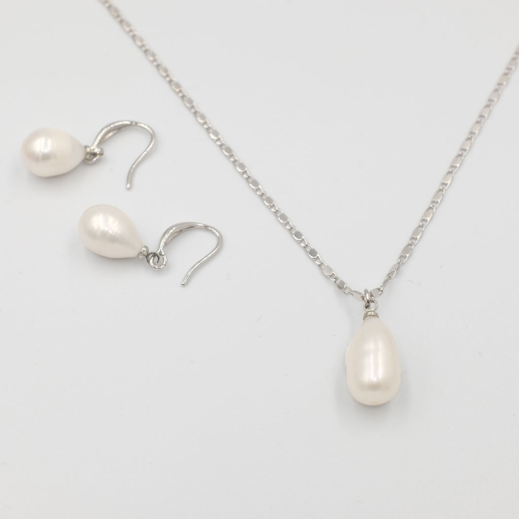 Drop Shaped pearl earrings and necklace jewellery Set - Aniya Jewellery