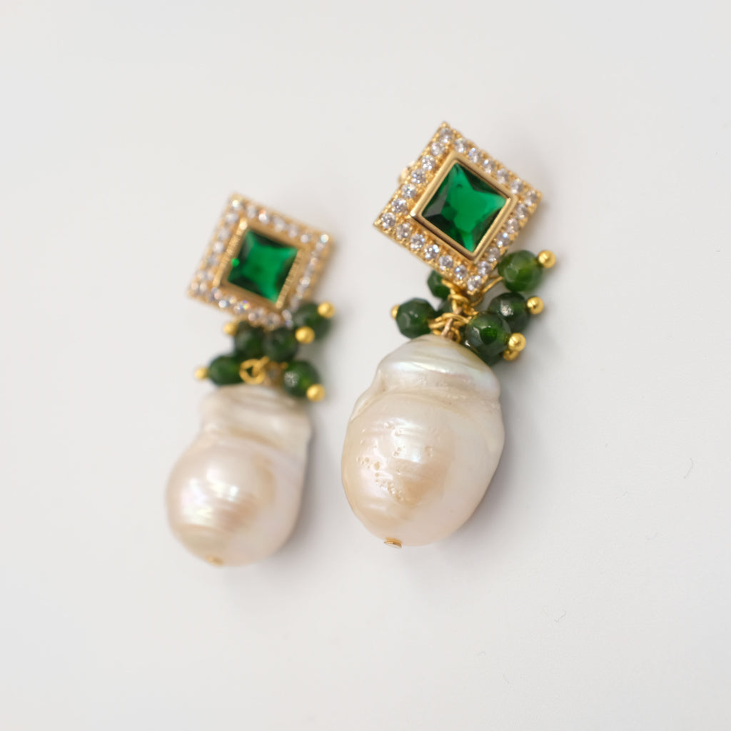 Esmeralda Baroque Pearl Dangling Earrings - Aniya Jewellery