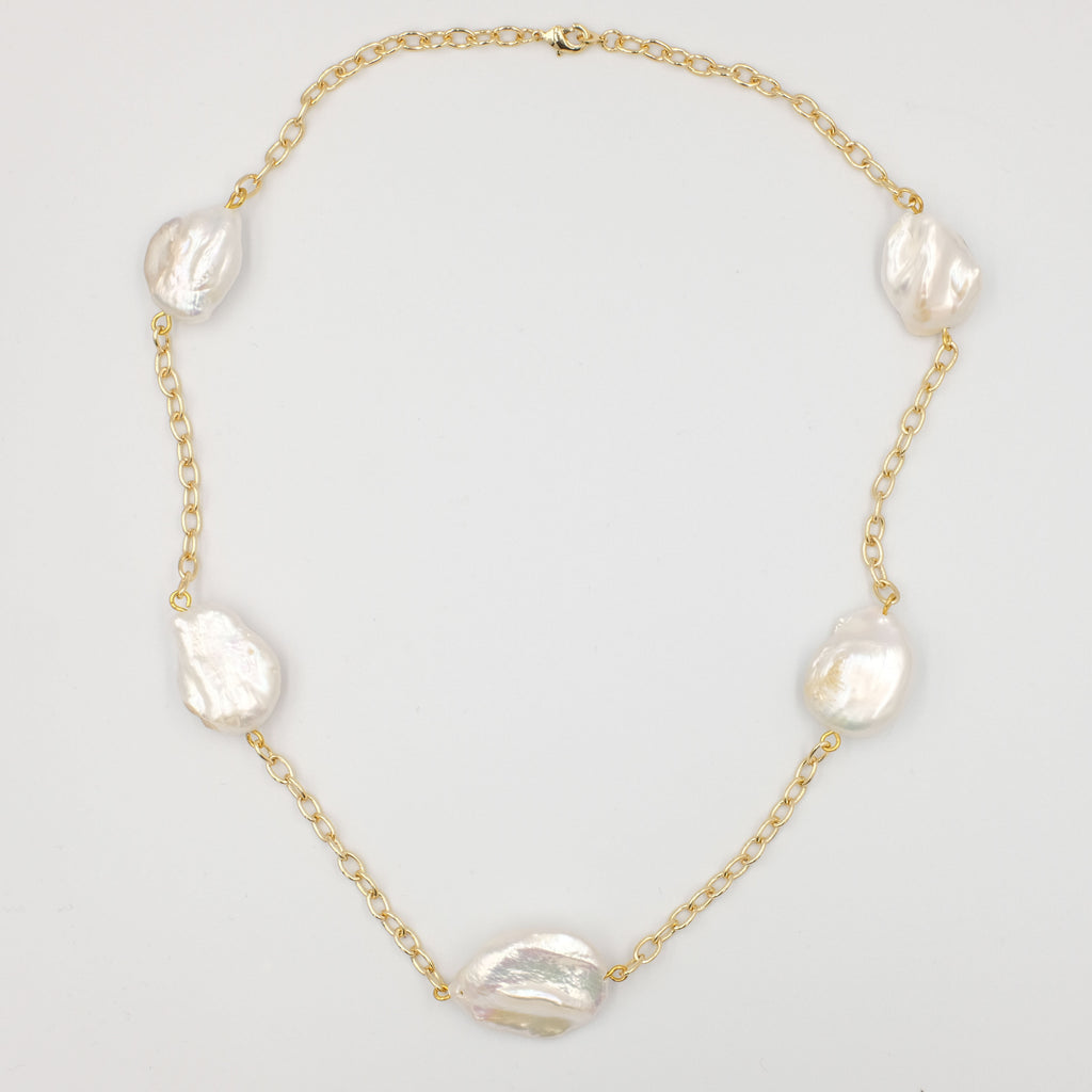 Mia Chain and Baroque Pearl Necklace - Aniya Jewellery