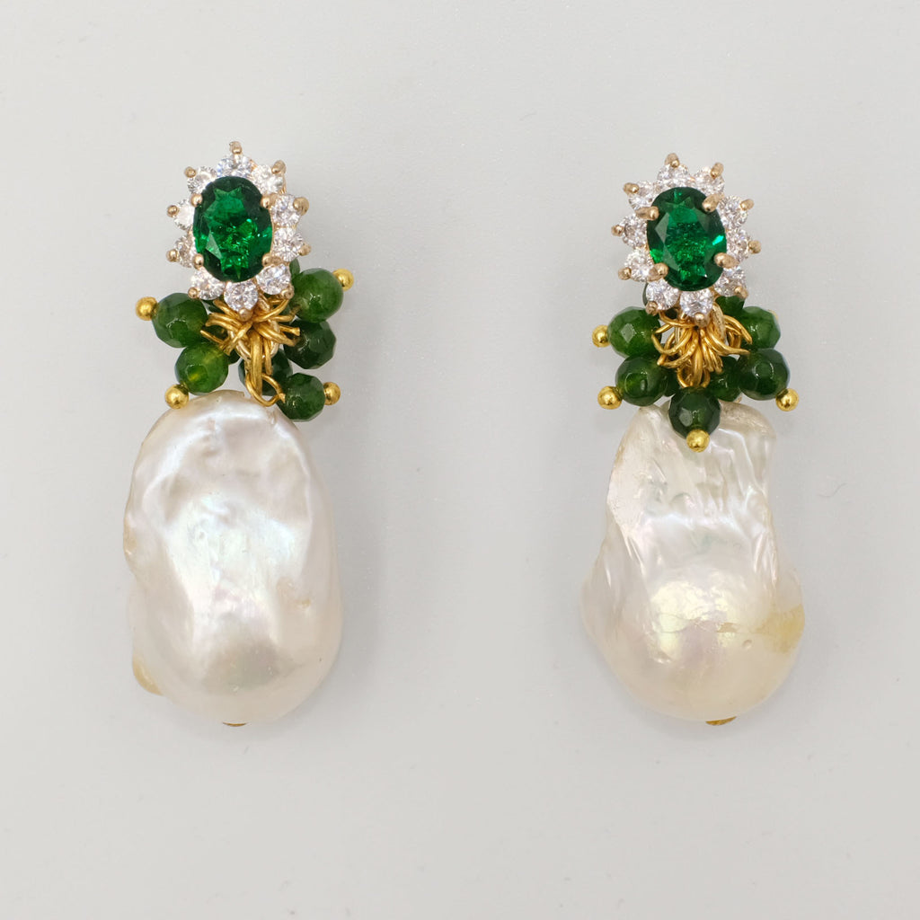 Demetra, Green agate and Baroque Pearl Earrings - Aniya Jewellery