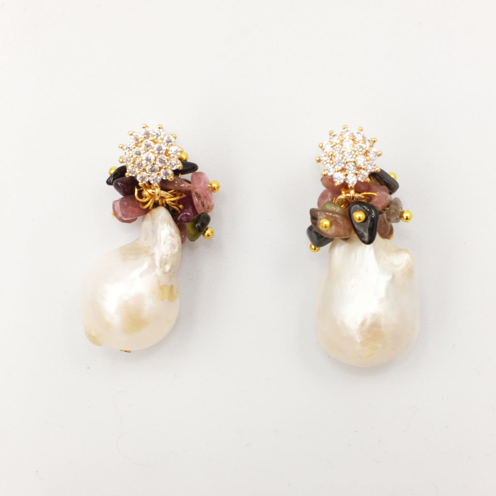 Iris, Tourmaline with Baroque Pearl Earrings - Aniya Jewellery