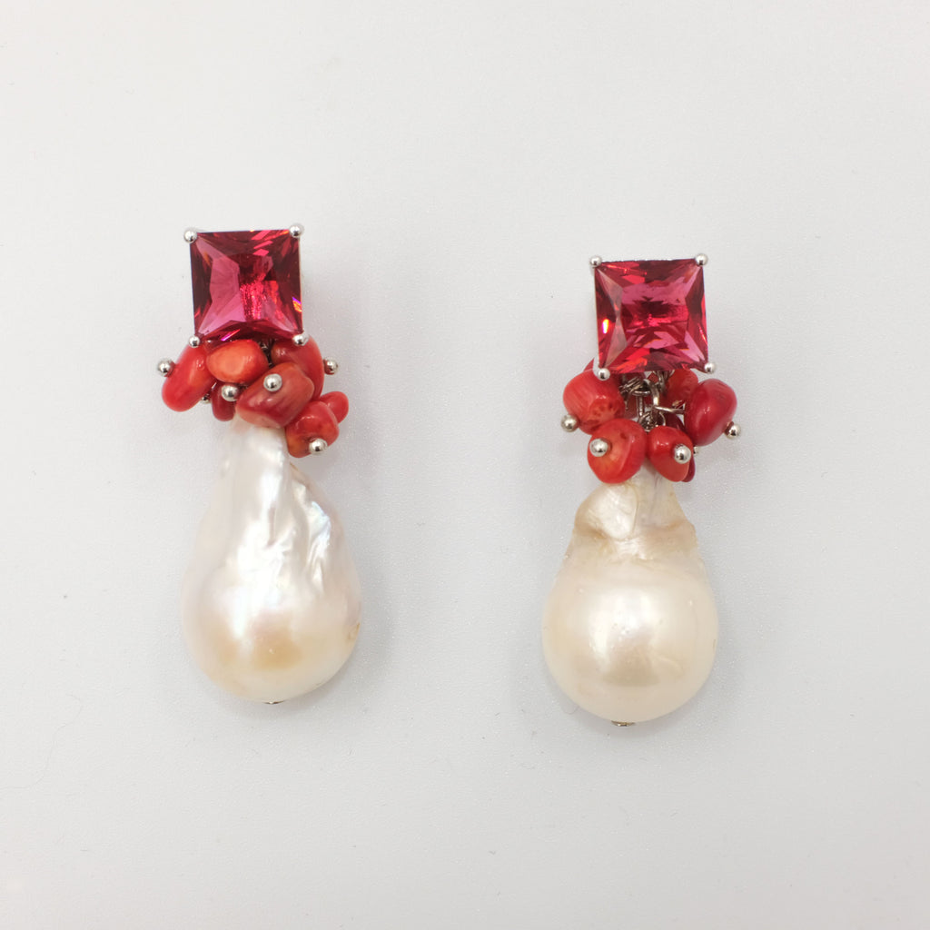 Hygeia, Corals and Baroque Pearl Earrings - Aniya Jewellery