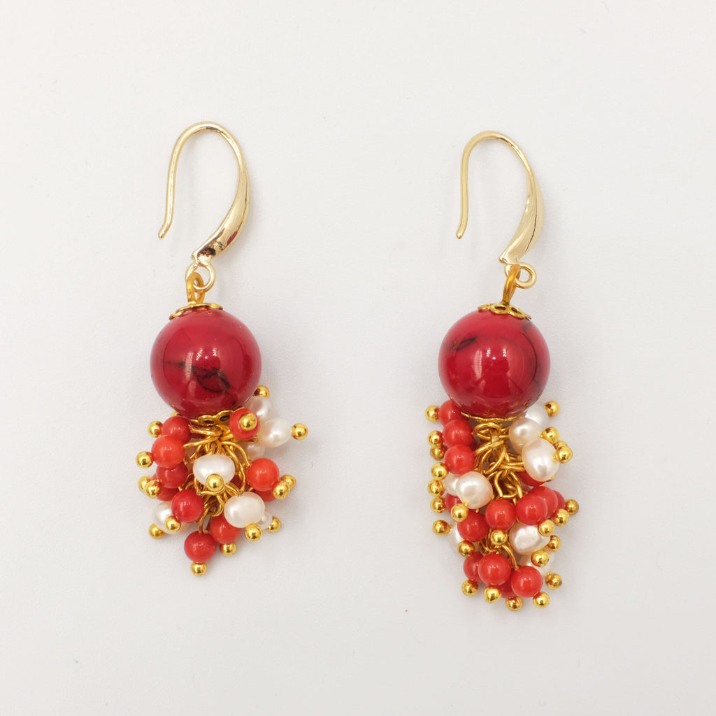 Coral dangling Earrings with cluster seed pearls and corals - Aniya Jewellery