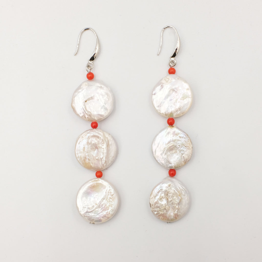 Coin Pearl Earrings with dainty coral Beads - Aniya Jewellery