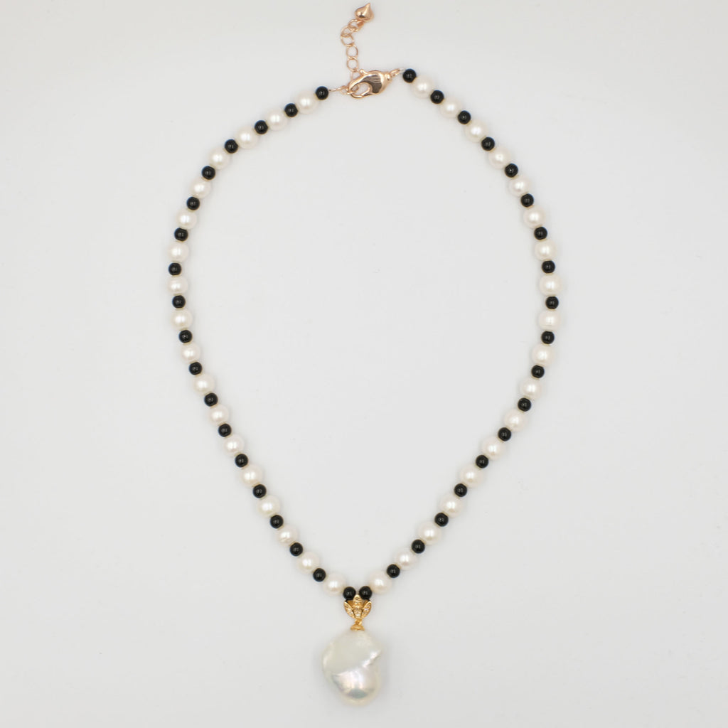 Dianna Freshwater Pearl with Black Agate Necklace - Aniya Jewellery