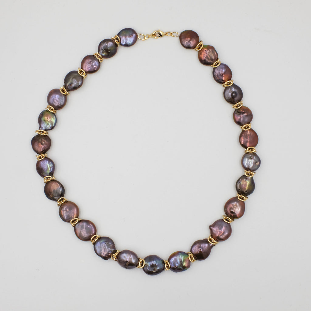 Coin Pearl in Bronze Colour Choker Length Necklace