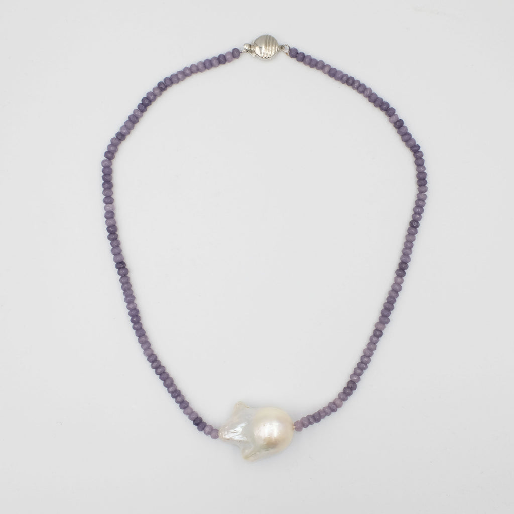Protection Agate stones with Baroque Pearl choker necklace