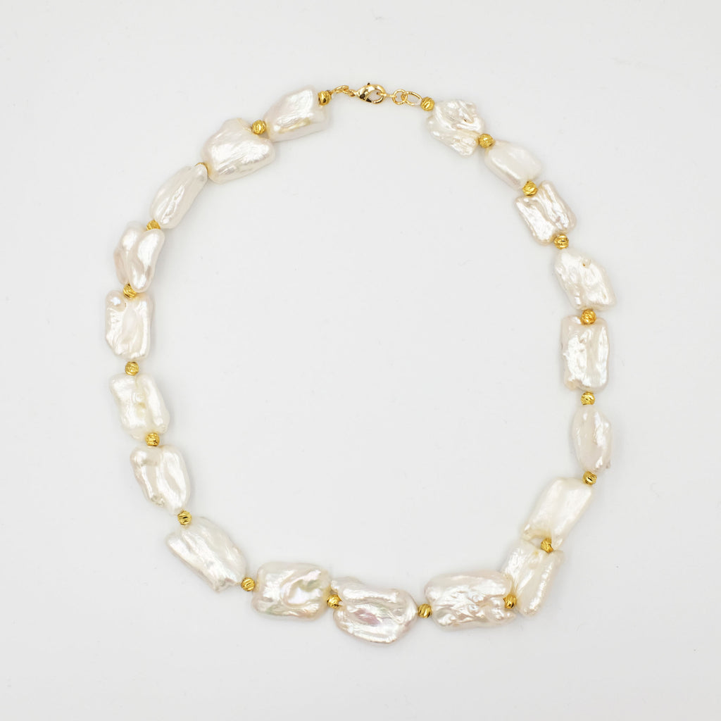 White Keshi Pearl Choker Necklace