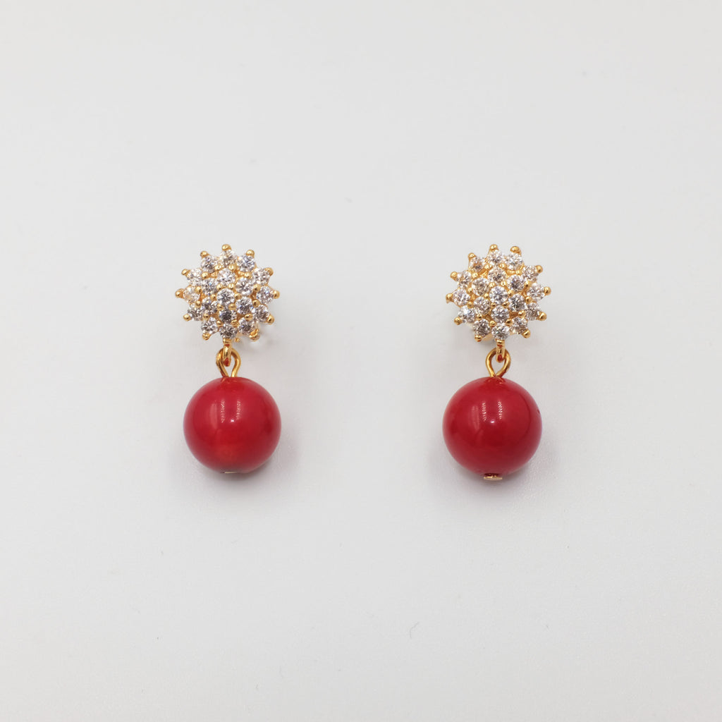 Coral bead in flower stud earrings