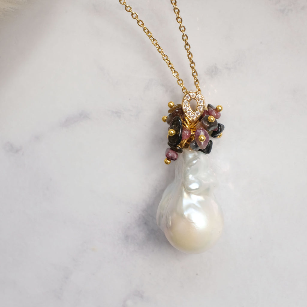 Iris Tourmaline and Baroque Pearl Pendant