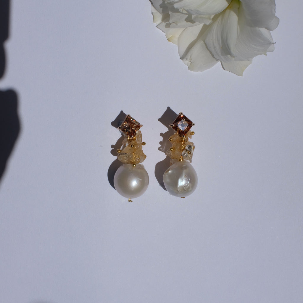 Hesperis, Baroque Pearl with Citrine Earrings