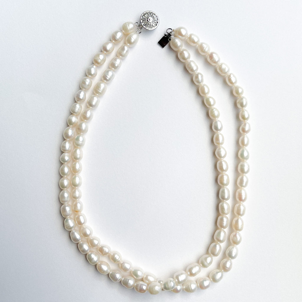 Double Strand Teardrop Pearl Necklace