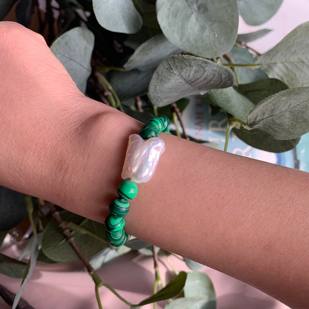 Malachite Stones with Keshi Pearl accent Bracelet