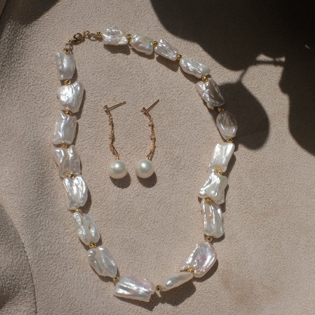 Keshi Pearl Necklace with Round Drop Pearl Earrings
