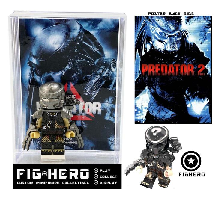 FIGHERO - Predator - Custom Minifigure w/ Card & Display