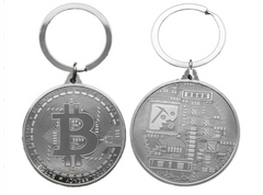 Bitcoin Coin Key Chain - Silver Metal Physical Blockchain Cryptocurrency Collectible Coin - Funky Toys