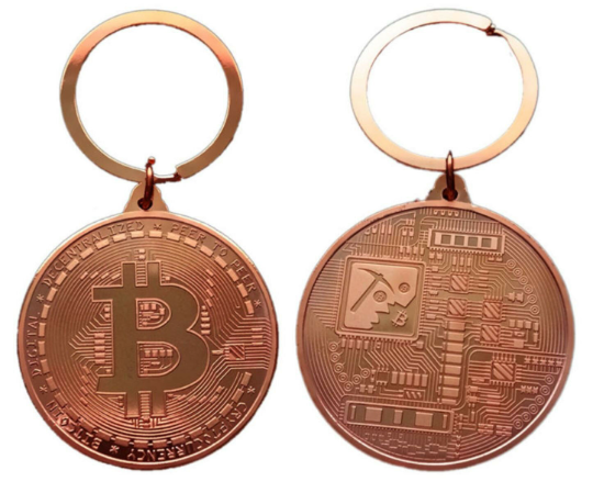 Bitcoin Coin Key Chain - Bronze Metal Physical Blockchain Cryptocurrency Collectible Coin - Funky Toys