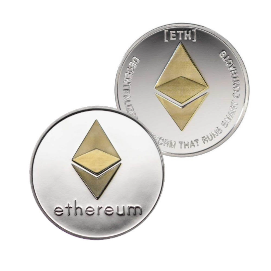 Ethereum Coin - Silver Metal Physical Blockchain Cryptocurrency Collectible Coin - Funky Toys