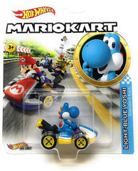 Hot Wheels Die-Cast 1/64 Mario Kart - Light-Blue Yoshi Standard Kart - Funky Toys