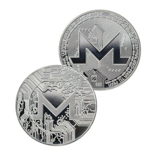 Monero Coin - Silver Metal Physical Blockchain Cryptocurrency Collectible Coin - Funky Toys