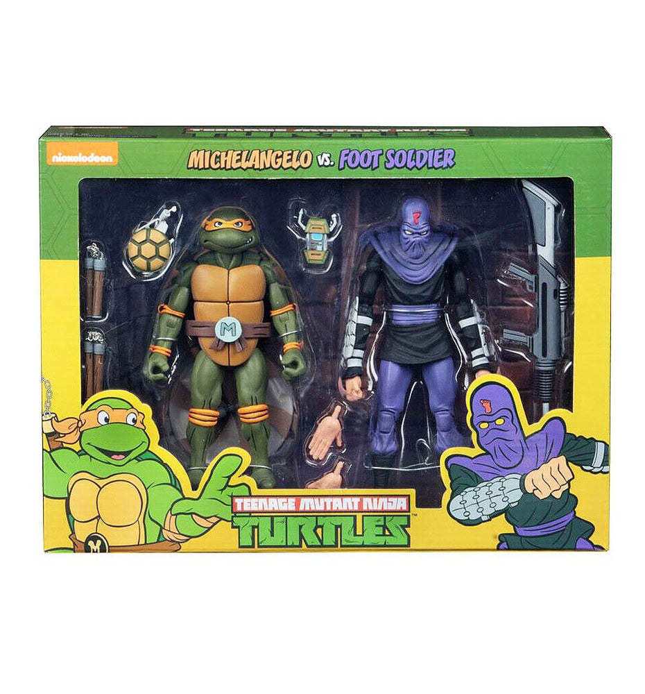 Neca Teenage Mutant Ninja Turtles 2 Pack - Michelangelo Vs Foot Soldier - funky-toys-company