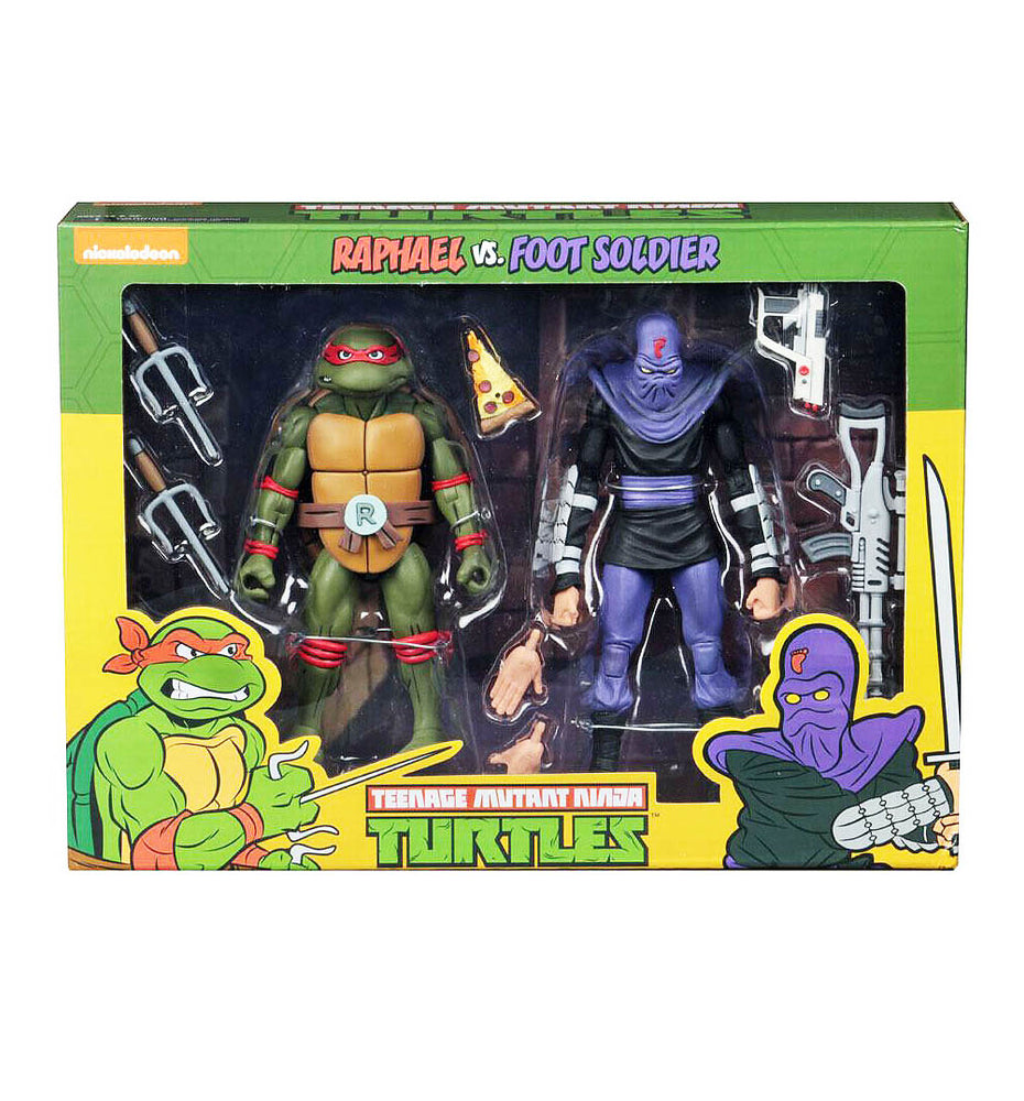 Neca Teenage Mutant Ninja Turtles 2 Pack - Raphael Vs Foot Soldier - funky-toys-company