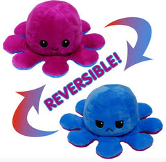 Octopus Reversible Plush Double-Sided Flip Doll - Blue & Purple - Funky Toys