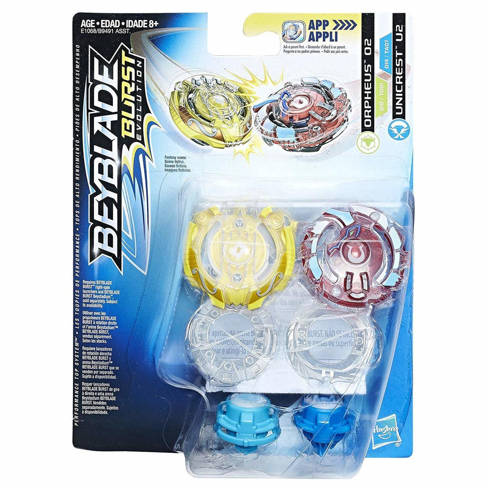 Beyblade Burst Evolution Dual Pack - Orpheus O2 and Unicrest U2 - funky-toys-company