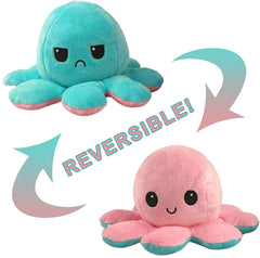 Octopus Reversible Plush Double-Sided Flip Doll - Teal & Pink - Funky Toys