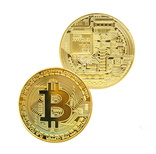 Bitcoin Coin - Gold Metal Physical Blockchain Cryptocurrency Collectible Coin - Funky Toys
