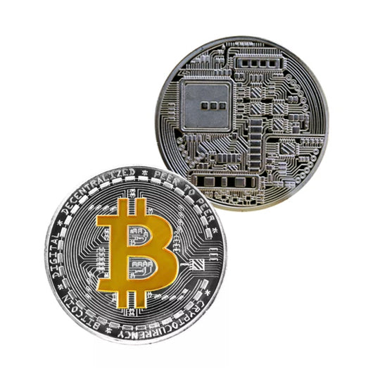 Bitcoin Coin - Gold & Silver Metal Physical Blockchain Cryptocurrency Collectible Coin - Funky Toys