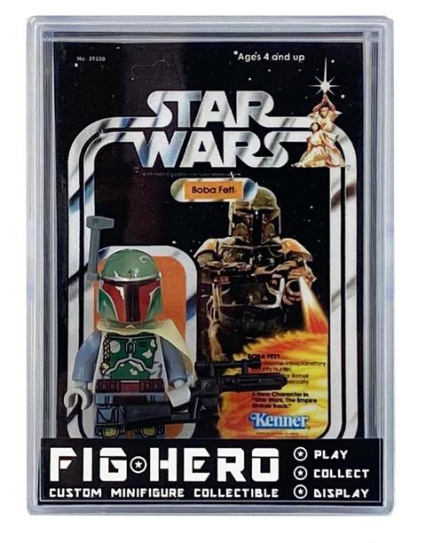 FIGHERO - Boba Fett - Custom Minifigure w/ Card & Display