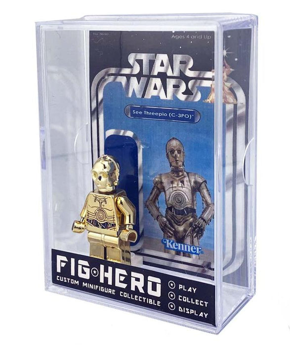 FIGHERO - C-3PO - Custom Minifigure w/ Card & Display