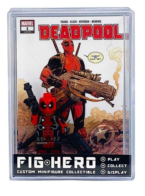 FIGHERO - Deadpool - Custom Minifigure w/ Card & Display