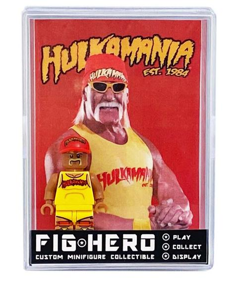 FIGHERO - Hulk Hogan WWE - Custom Minifigure w/ Card & Display